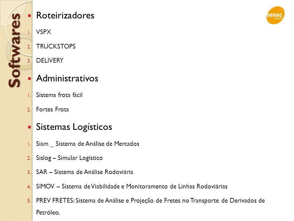 Softwares Roteirizadores 1. VSPX 2. TRUCKSTOPS 3. DELIVERY Administrativos 1. Sistema frota fácil 2. Fortes Frota Sistemas Logísticos 1. Siam _ Sistem