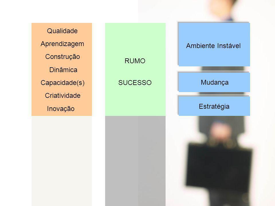 Qualidade Aprendizagem Construção Dinâmica Capacidade(s) Criatividade Inovação RUMO SUCESSO Ambiente Instável Mudança Estratégia