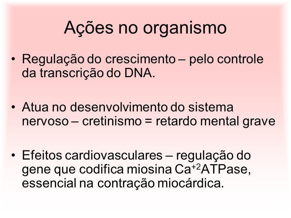 Ações no organismo Regulação do crescimento – pelo controle da transcrição do DNA. Atua no desenvolvimento do sistema nervoso – cretinismo = retardo m