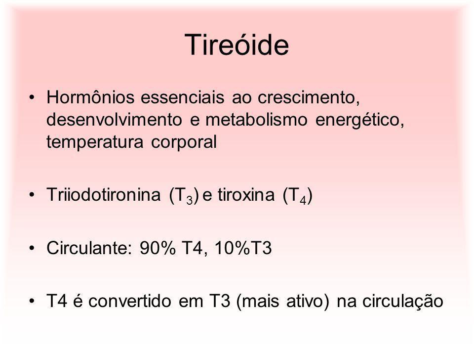 Tireóide Hormônios essenciais ao crescimento, desenvolvimento e metabolismo energético, temperatura corporal Triiodotironina (T 3 ) e tiroxina (T 4 )