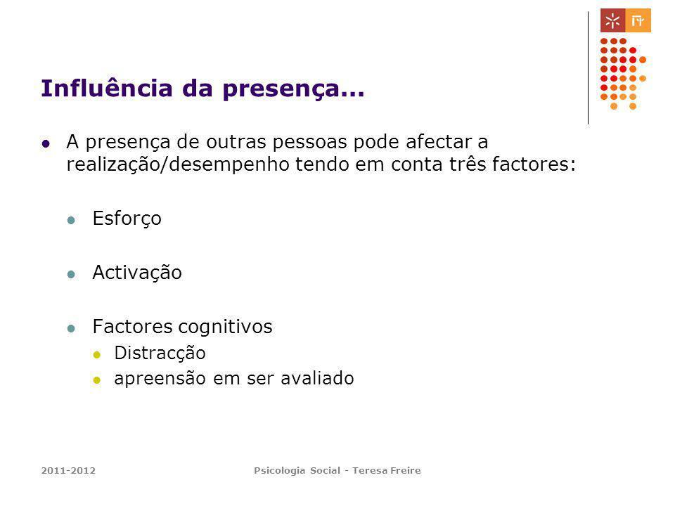 2011-2012Psicologia Social - Teresa Freire Influência da presença... A presença de outras pessoas pode afectar a realização/desempenho tendo em conta