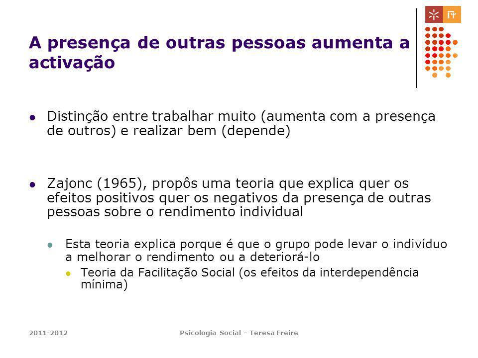 2011-2012Psicologia Social - Teresa Freire A presença de outras pessoas aumenta a activação Distinção entre trabalhar muito (aumenta com a presença de