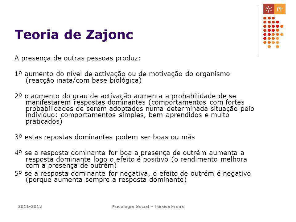 2011-2012Psicologia Social - Teresa Freire Teoria de Zajonc A presença de outras pessoas produz: 1º aumento do nível de activação ou de motivação do o
