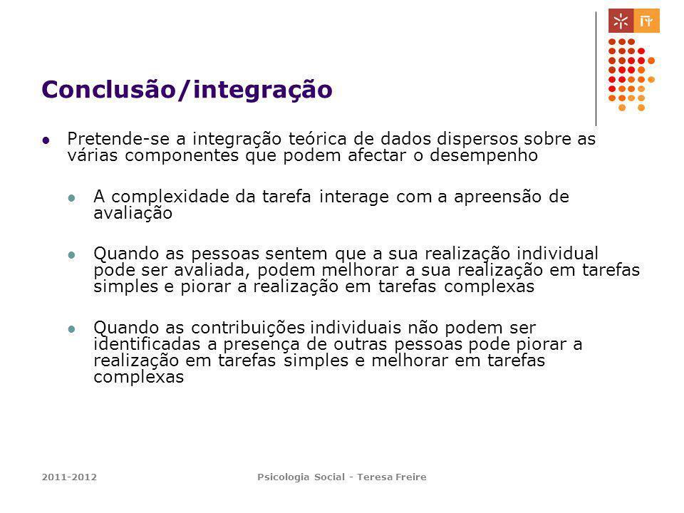 2011-2012Psicologia Social - Teresa Freire Conclusão/integração Pretende-se a integração teórica de dados dispersos sobre as várias componentes que po