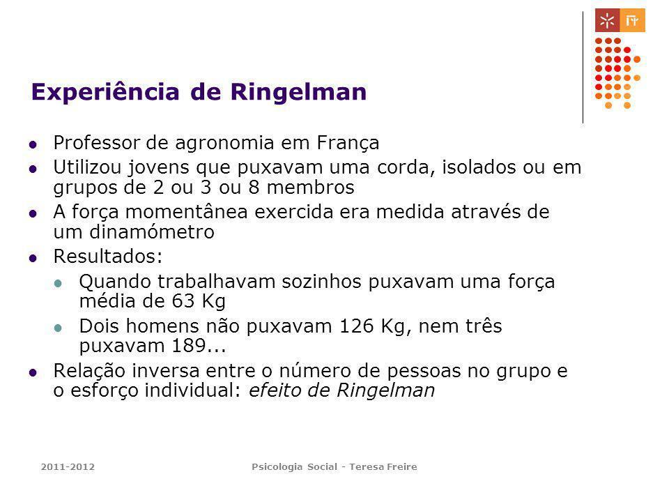 2011-2012Psicologia Social - Teresa Freire Experiência de Ringelman Professor de agronomia em França Utilizou jovens que puxavam uma corda, isolados o