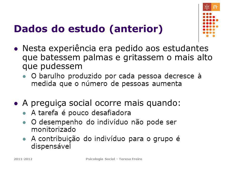 2011-2012Psicologia Social - Teresa Freire Dados do estudo (anterior) Nesta experiência era pedido aos estudantes que batessem palmas e gritassem o ma