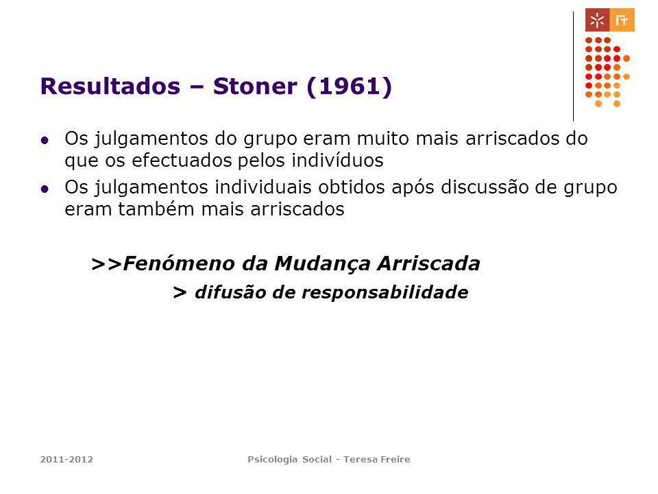 2011-2012Psicologia Social - Teresa Freire Resultados – Stoner (1961) Os julgamentos do grupo eram muito mais arriscados do que os efectuados pelos in