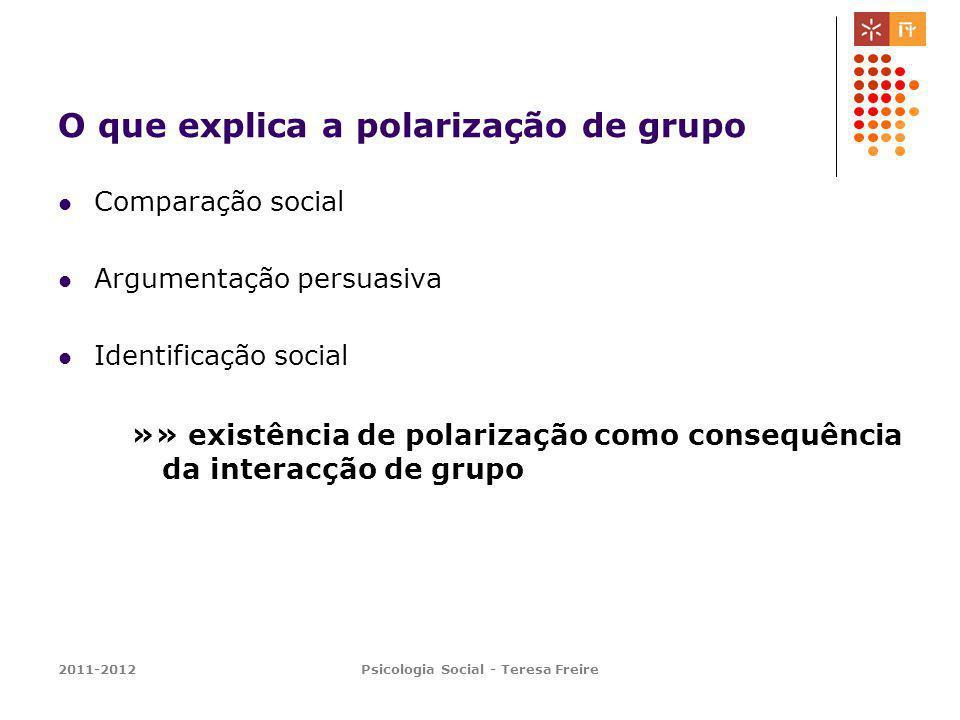 2011-2012Psicologia Social - Teresa Freire O que explica a polarização de grupo Comparação social Argumentação persuasiva Identificação social »» exis