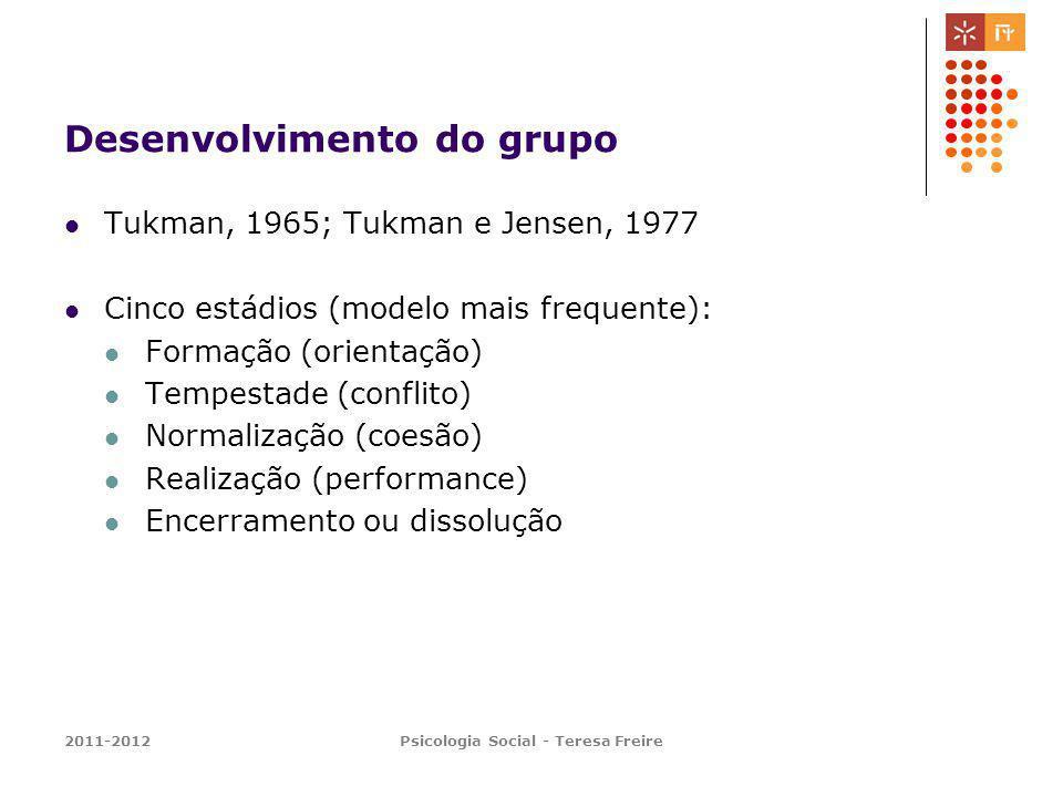 2011-2012Psicologia Social - Teresa Freire Desenvolvimento do grupo Tukman, 1965; Tukman e Jensen, 1977 Cinco estádios (modelo mais frequente): Formaç