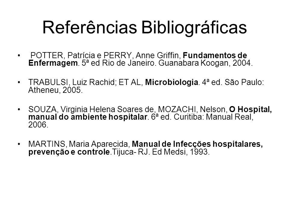 Referências Bibliográficas POTTER, Patrícia e PERRY, Anne Griffin, Fundamentos de Enfermagem. 5ª ed Rio de Janeiro. Guanabara Koogan, 2004. TRABULSI,