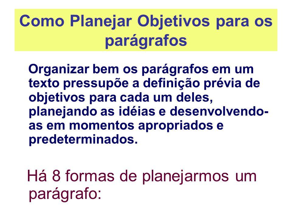 Como Planejar Objetivos para os parágrafos Organizar bem os parágrafos em um texto pressupõe a definição prévia de objetivos para cada um deles, plane