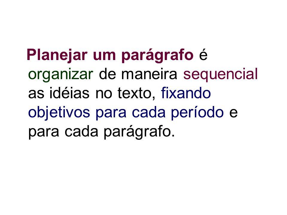 Planejar um parágrafo é organizar de maneira sequencial as idéias no texto, fixando objetivos para cada período e para cada parágrafo.