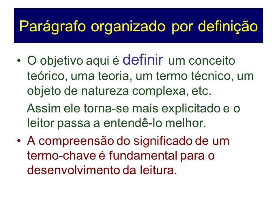 Parágrafo organizado por definição O objetivo aqui é definir um conceito teórico, uma teoria, um termo técnico, um objeto de natureza complexa, etc. A