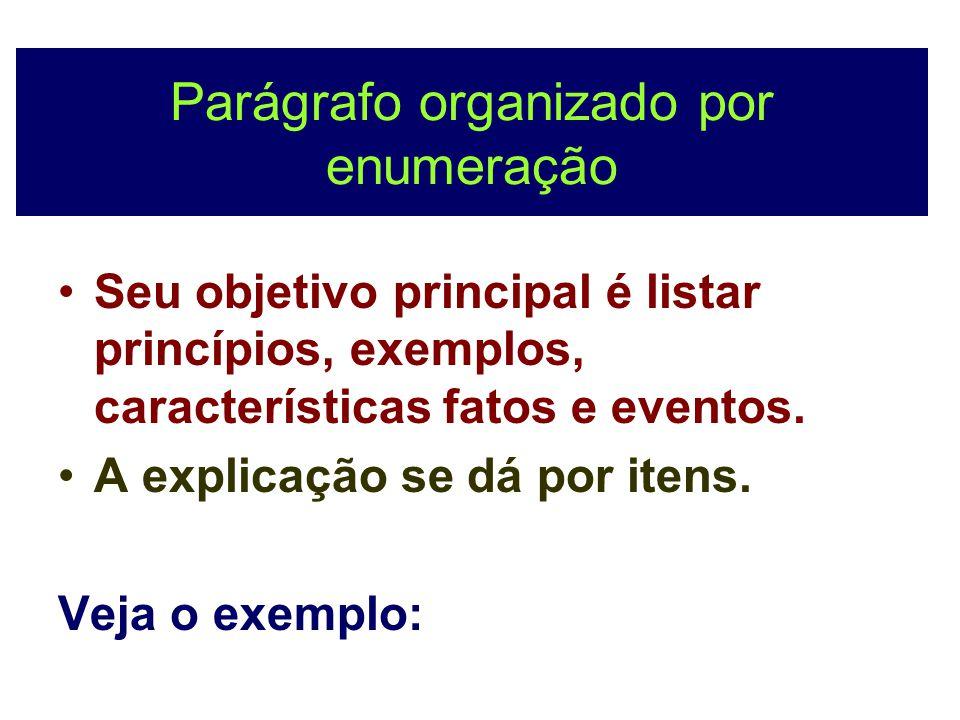 Parágrafo organizado por enumeração Seu objetivo principal é listar princípios, exemplos, características fatos e eventos. A explicação se dá por iten