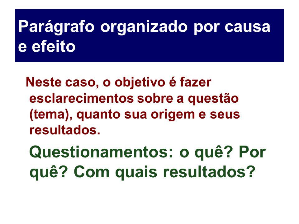 Parágrafo organizado por causa e efeito Neste caso, o objetivo é fazer esclarecimentos sobre a questão (tema), quanto sua origem e seus resultados. Qu