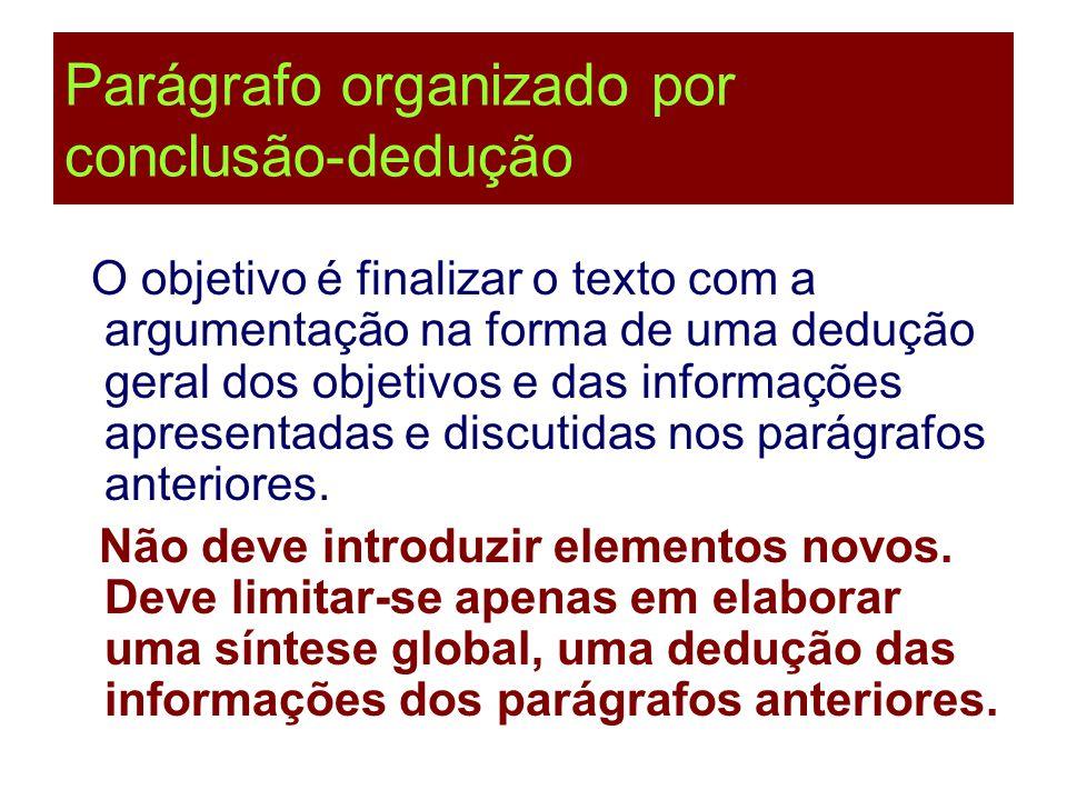Parágrafo organizado por conclusão-dedução O objetivo é finalizar o texto com a argumentação na forma de uma dedução geral dos objetivos e das informa