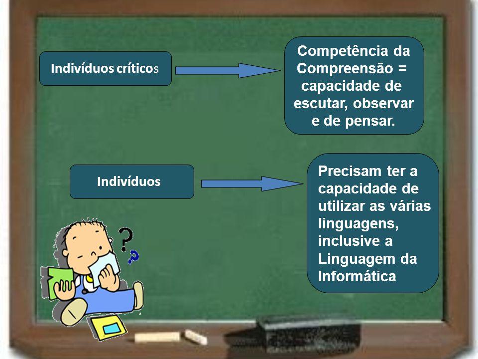 Indivíduos críticos Competência da Compreensão = capacidade de escutar, observar e de pensar. Indivíduos Precisam ter a capacidade de utilizar as vári