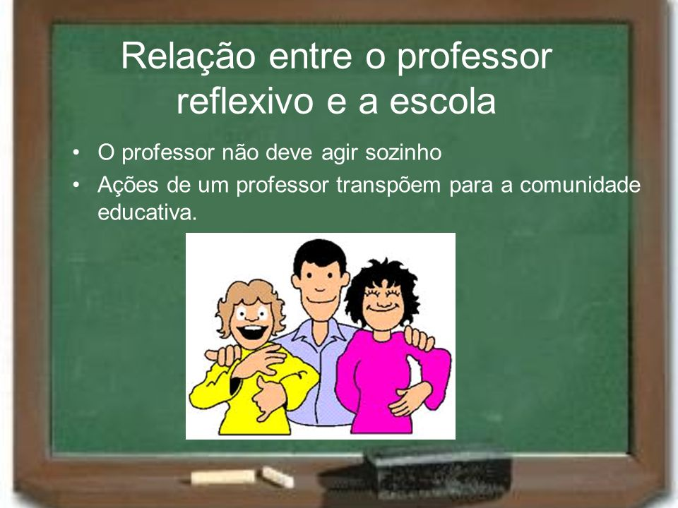 Relação entre o professor reflexivo e a escola O professor não deve agir sozinho Ações de um professor transpõem para a comunidade educativa.