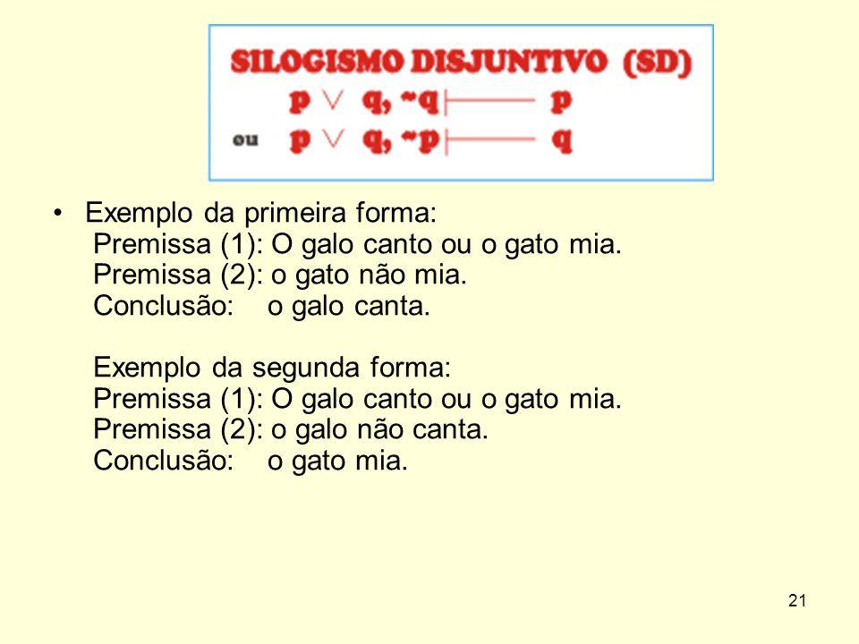 Exemplo da primeira forma: Premissa (1): O galo canto ou o gato mia. Premissa (2): o gato não mia. Conclusão: o galo canta. Exemplo da segunda forma: