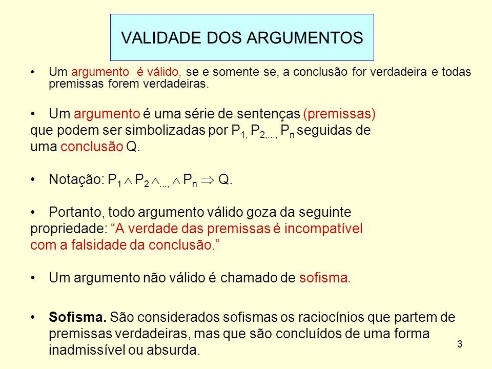VALIDADE DOS ARGUMENTOS Um argumento é válido, se e somente se, a conclusão for verdadeira e todas premissas forem verdadeiras. Um argumento é uma sér