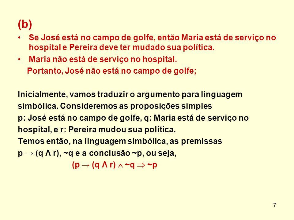 (b) Se José está no campo de golfe, então Maria está de serviço no hospital e Pereira deve ter mudado sua política. Maria não está de serviço no hospi
