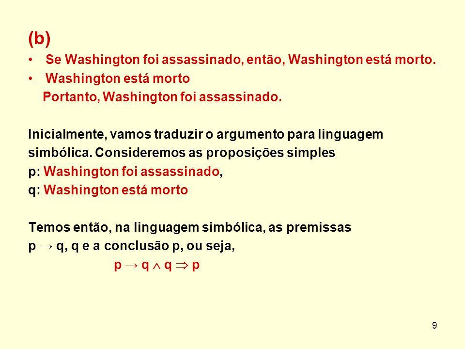 (b) Se Washington foi assassinado, então, Washington está morto. Washington está morto Portanto, Washington foi assassinado. Inicialmente, vamos tradu