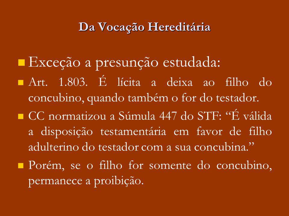 Da Vocação Hereditária Exceção a presunção estudada: Art. 1.803. É lícita a deixa ao filho do concubino, quando também o for do testador. CC normatizo