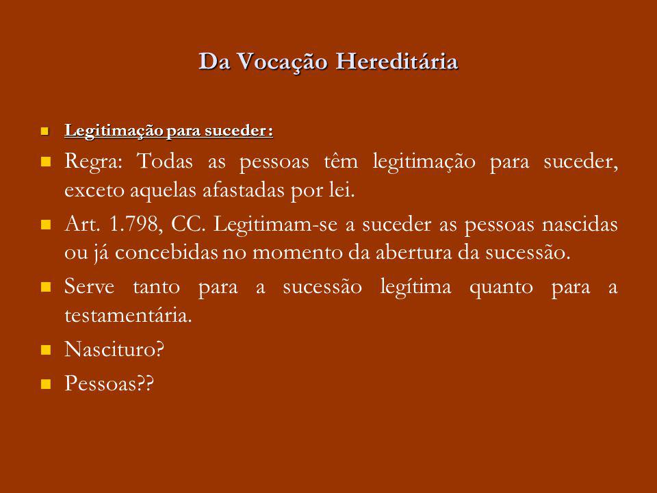 Da Vocação Hereditária Legitimação para suceder : Legitimação para suceder : Regra: Todas as pessoas têm legitimação para suceder, exceto aquelas afas