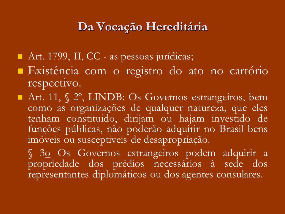 Da Vocação Hereditária Art. 1799, II, CC - as pessoas jurídicas; Existência com o registro do ato no cartório respectivo. Art. 11, § 2º, LINDB: Os Gov