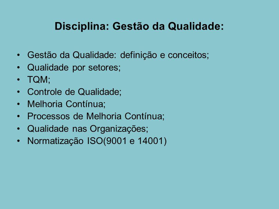 Disciplina: Gestão da Qualidade: Gestão da Qualidade: definição e conceitos; Qualidade por setores; TQM; Controle de Qualidade; Melhoria Contínua; Pro