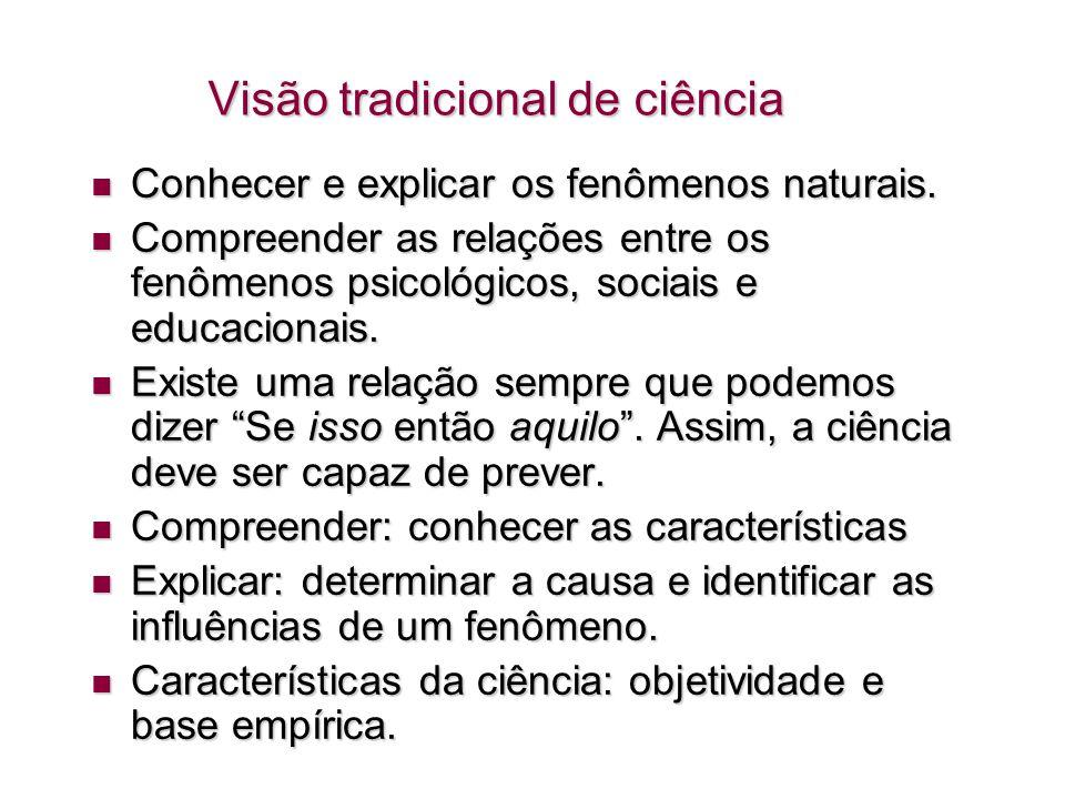 Visão tradicional de ciência Objetividade como exterioridade em relação a pensamentos e valores.