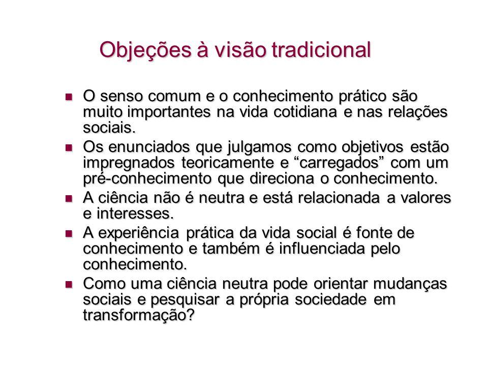 Objeções à visão tradicional O senso comum e o conhecimento prático são muito importantes na vida cotidiana e nas relações sociais. O senso comum e o
