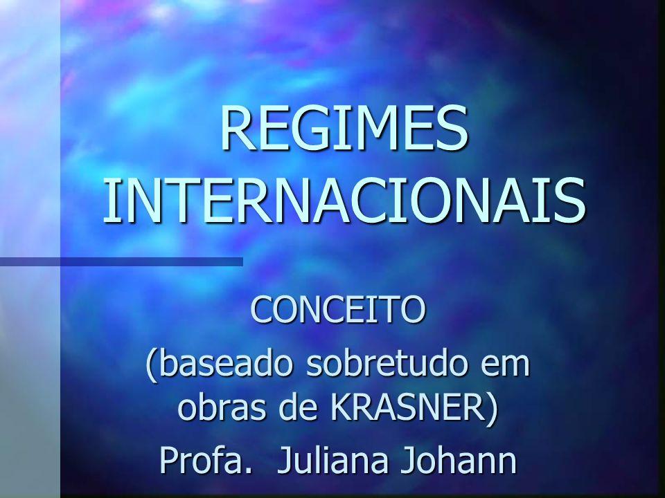 Regimes internacionais podem ser definidos como conjuntos de princípios implícitos ou explícitos, normas, regras, e procedimentos de tomada de decisão em torno das quais as expectativas dos atores convergem, em determinada área das relações internacionais.