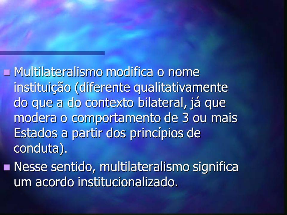 Multilateralismo modifica o nome instituição (diferente qualitativamente do que a do contexto bilateral, já que modera o comportamento de 3 ou mais Estados a partir dos princípios de conduta).
