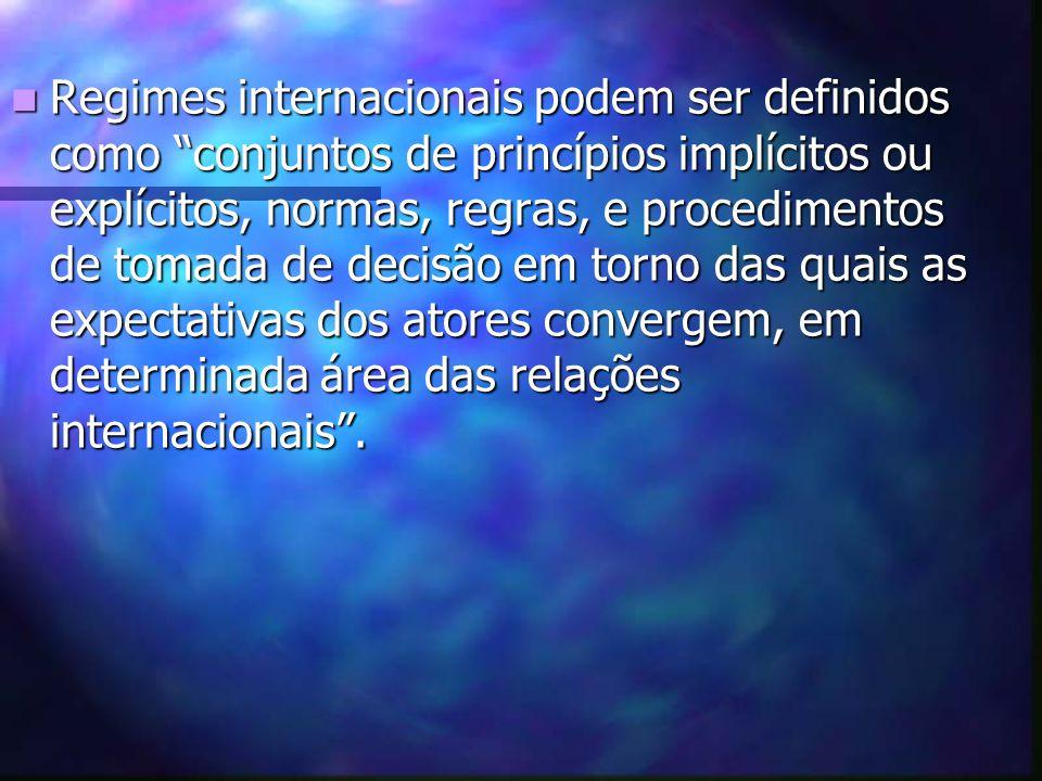 A primeira parte da definição de regime - os princípios- corresponde à sua razão de ser, a sua estrutura normativa, a qual não é em si mesma, sujeita a negociação direta, uma vez estabelecida.