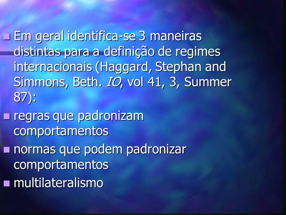 Em geral identifica-se 3 maneiras distintas para a definição de regimes internacionais (Haggard, Stephan and Simmons, Beth.