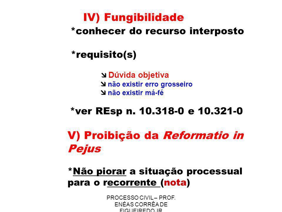 PROCESSO CIVIL – PROF. ENÉAS CORRÊA DE FIGUEIREDO JR IV) Fungibilidade *conhecer do recurso interposto *requisito(s) Dúvida objetiva não existir erro