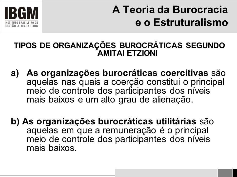 A Teoria da Burocracia e o Estruturalismo TIPOS DE ORGANIZAÇÕES BUROCRÁTICAS SEGUNDO AMITAI ETZIONI a)As organizações burocráticas coercitivas são aquelas nas quais a coerção constitui o principal meio de controle dos participantes dos níveis mais baixos e um alto grau de alienação.