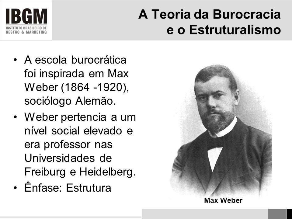 A Teoria da Burocracia e o Estruturalismo A escola burocrática foi inspirada em Max Weber (1864 -1920), sociólogo Alemão.