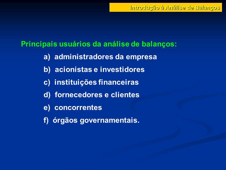 Introdução à Análise de Balanços Principais usuários da análise de balanços: a) administradores da empresa b) acionistas e investidores c) instituiçõe
