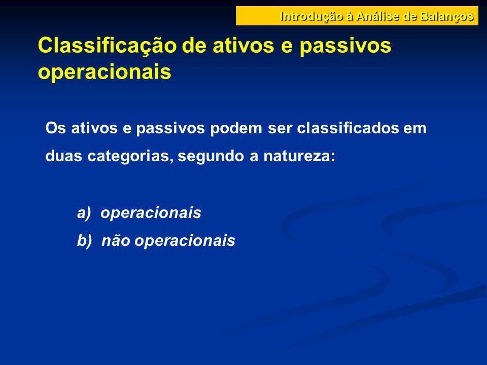 Classificação de ativos e passivos operacionais Introdução à Análise de Balanços Os ativos e passivos podem ser classificados em duas categorias, segu