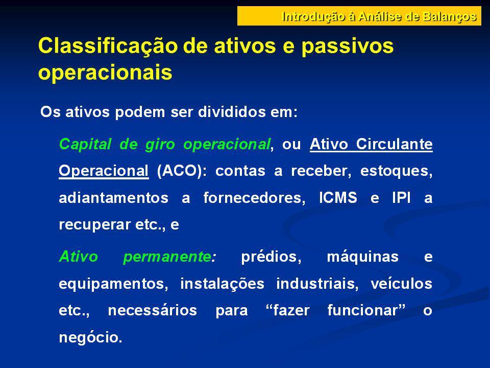 Classificação de ativos e passivos operacionais Introdução à Análise de Balanços