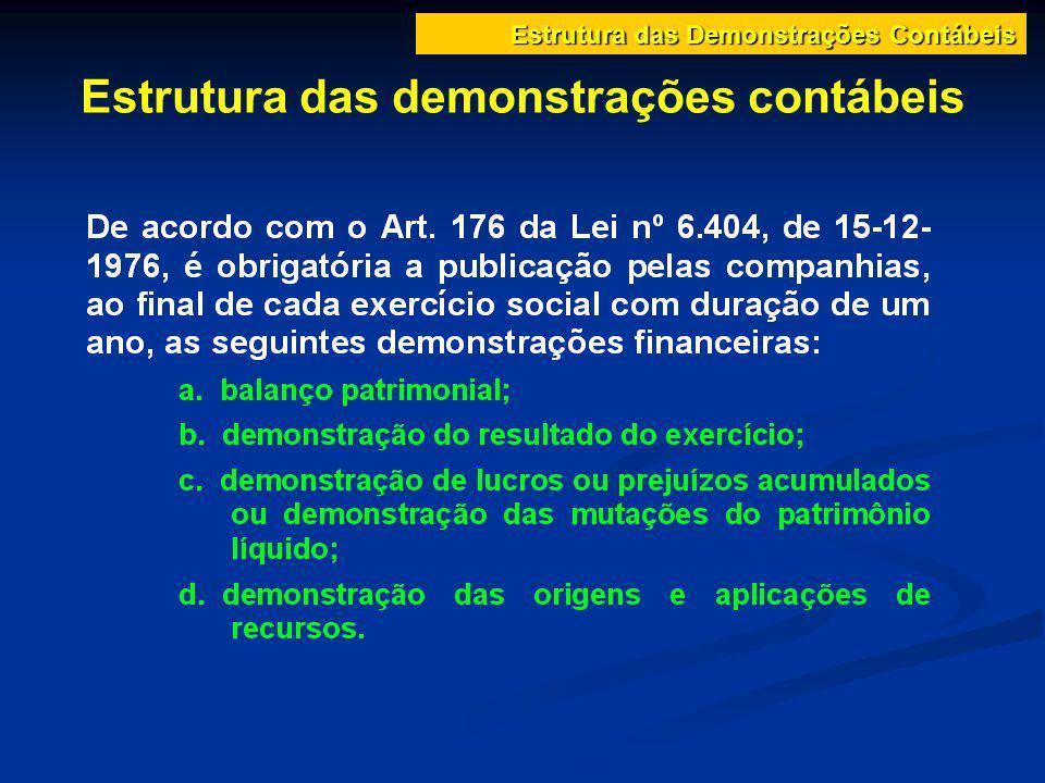 e- Demonstrações dos fluxos de caixa (DFC) e- Demonstrações dos fluxos de caixa (DFC) f- Demonstração do Valor Adicionado (DVA) f- Demonstração do Valor Adicionado (DVA)Obs: A DOAR, não é obrigatória pela Legislação Brasileira a partir da atualização da Lei 6404/76, pela Lei nº 11638/07 e MP nº 449/08 (Lei nº 11941/09).