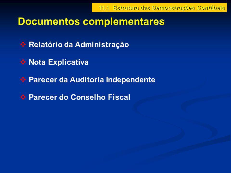 Documentos complementares 11.1 Estrutura das Demonstrações Contábeis Relatório da Administração Nota Explicativa Parecer da Auditoria Independente Par