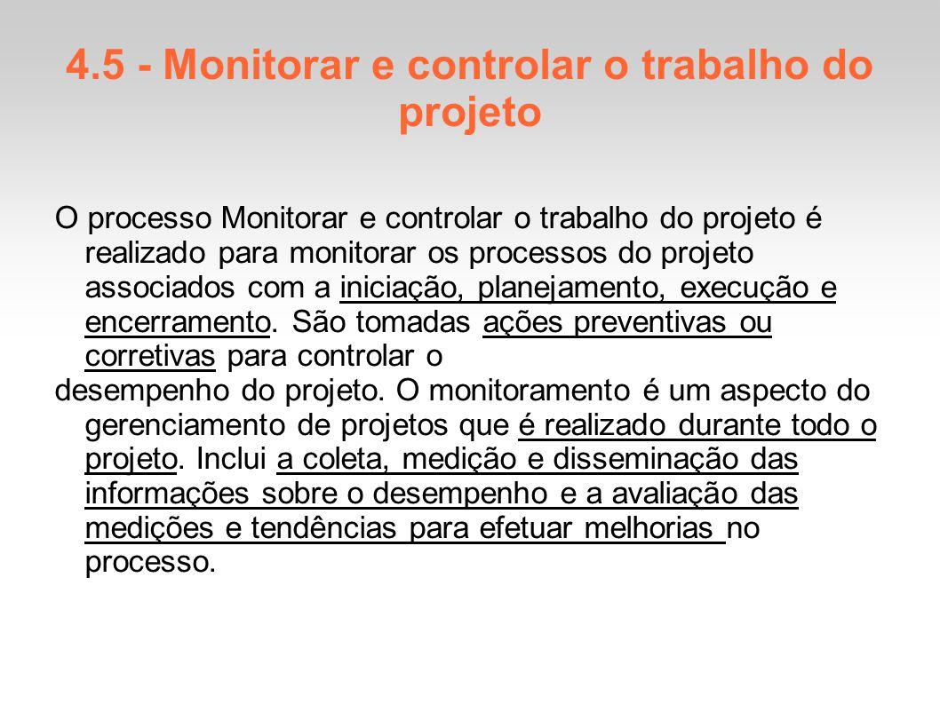 4.5 - Monitorar e controlar o trabalho do projeto O processo Monitorar e controlar o trabalho do projeto é realizado para monitorar os processos do projeto associados com a iniciação, planejamento, execução e encerramento.