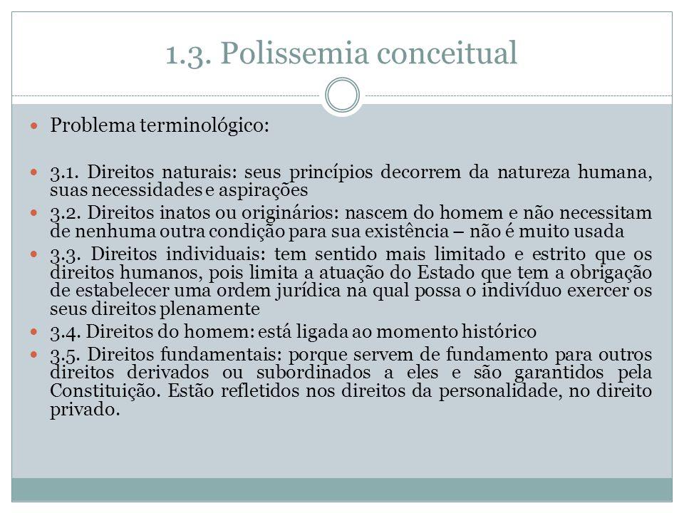 1.3. Polissemia conceitual Problema terminológico: 3.1. Direitos naturais: seus princípios decorrem da natureza humana, suas necessidades e aspirações