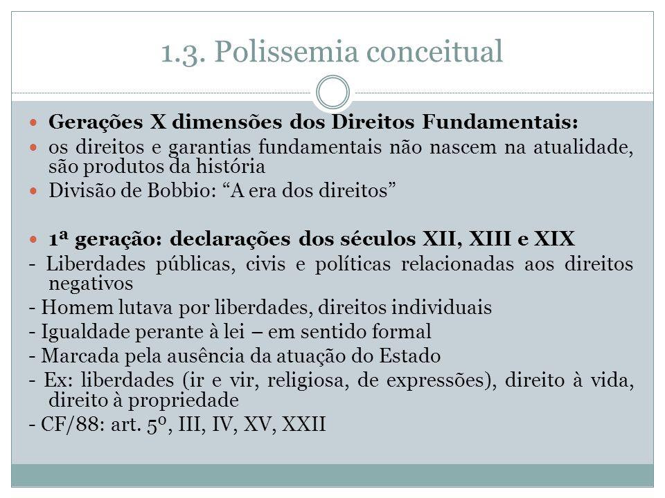 1.3. Polissemia conceitual Gerações X dimensões dos Direitos Fundamentais: os direitos e garantias fundamentais não nascem na atualidade, são produtos