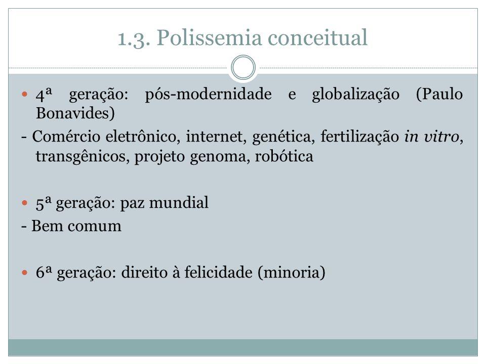 1.3. Polissemia conceitual 4ª geração: pós-modernidade e globalização (Paulo Bonavides) - Comércio eletrônico, internet, genética, fertilização in vit