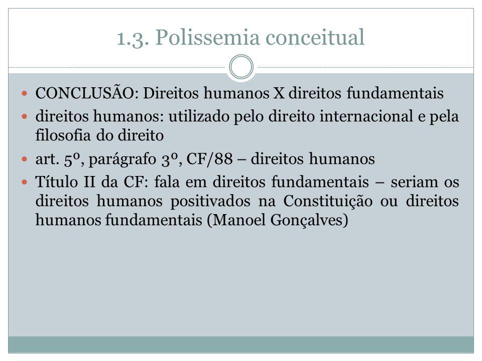 1.3. Polissemia conceitual CONCLUSÃO: Direitos humanos X direitos fundamentais direitos humanos: utilizado pelo direito internacional e pela filosofia