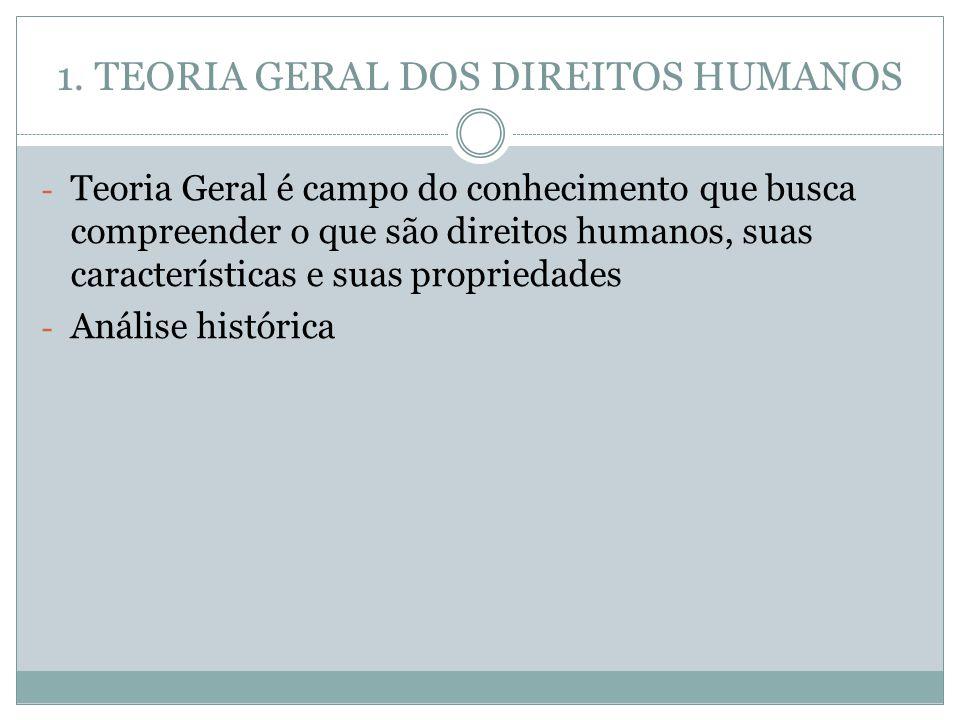 1. TEORIA GERAL DOS DIREITOS HUMANOS - Teoria Geral é campo do conhecimento que busca compreender o que são direitos humanos, suas características e s